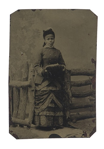Image for Tintype of woman in jacket and dress with hat and muff