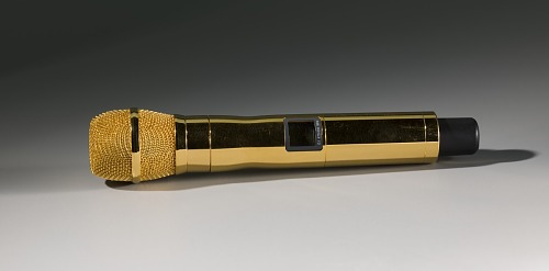 Image for Gold wireless microphone and black case used on The Oprah Winfrey Show