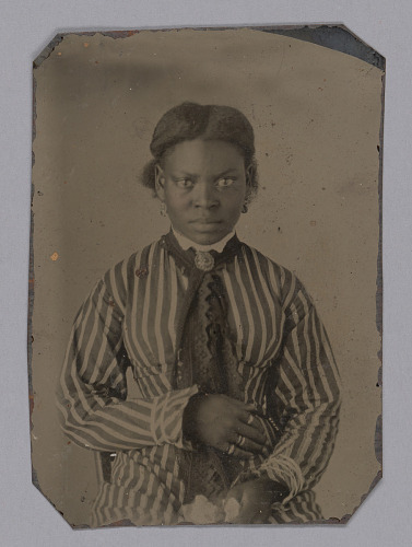 Image for Tintype of a young woman in a striped dress