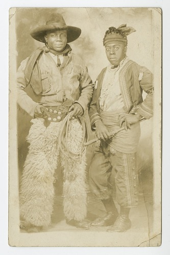 Image for Photographic postcard portrait of two men in cowboy and indian costumes