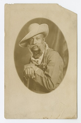 Image for Photographic postcard portrait of a man wearing a hat and overalls