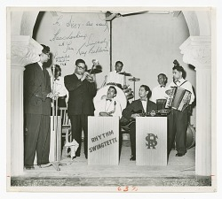 Photograph of Dizzy Gillespie playing the trumpet in Karachi, Pakistan