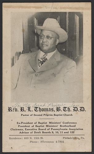 Image for Advertisement card for Rev. R. L. Thomas