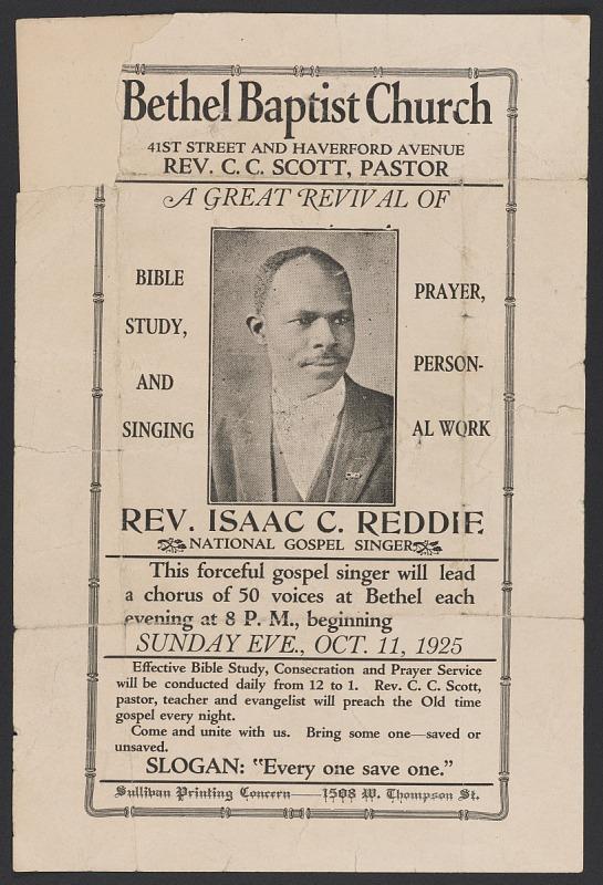 Image 1 for Advertisement card for gospel singer Rev. Isaac C. Reddie