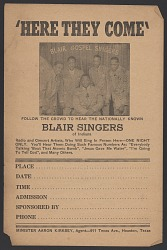 Advertisement card for the Blair Gospel Singers