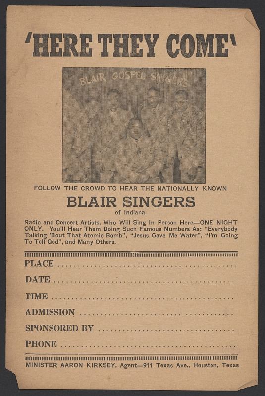 Image 1 for Advertisement card for the Blair Gospel Singers