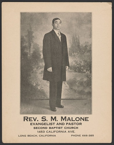 Image for Advertisement card for Rev. S. M. Malone
