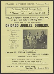 Flyer for performances of the Chicago Jublilee Singers in Burnley, England