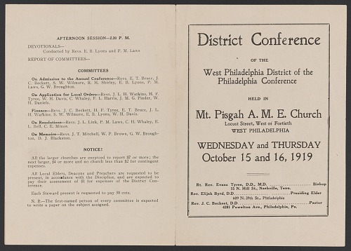 Image for Program for the West Philadelphia AME Church District Conference