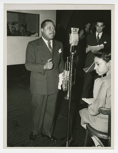 Image for Photograph of Louis Armstrong recording at the CBS Studio in New York