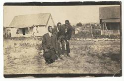Photographic print of three men including Joseph Abrams and Boisie Pryor
