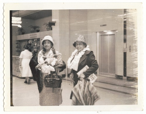Image for Photographic print of Eunice Jackson and another woman wearing leis