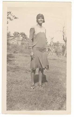 Image for Photographic print of a woman posing outdoors