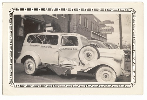 Image for Photographic print of damaged Jackson Funeral Home ambulance
