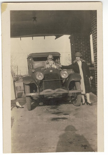 Image for Photographic print of Mrs. Jackson and Samuel Jackson Jr. with a car