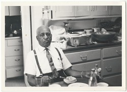Photographic print of Samuel L. Jackson sitting at the kitchen table