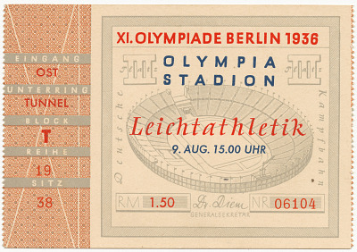 Ticket stub for the 1936 Berlin Summer Olympics