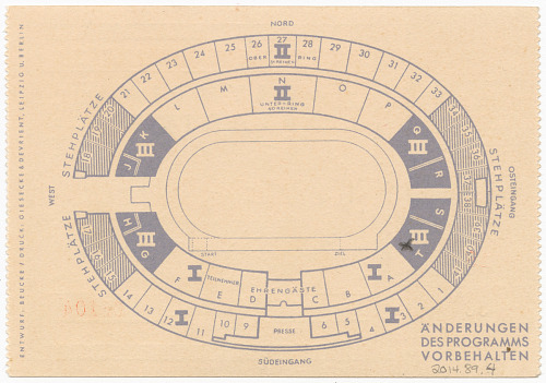 Image for Ticket stub for the 1936 Berlin Summer Olympics