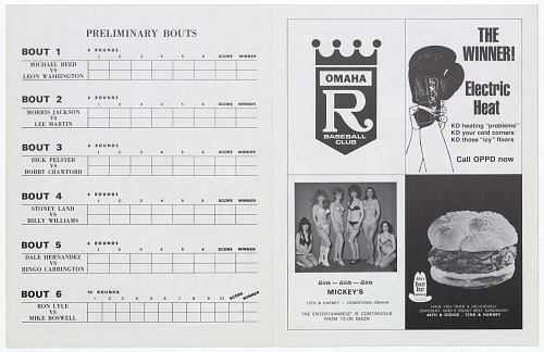 Image for Program for a boxing match between Ron Stander and Joe Frazier