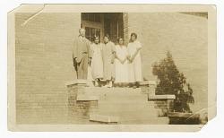 Photograph of Principal H. H. Falkener and four Percy Street School teachers