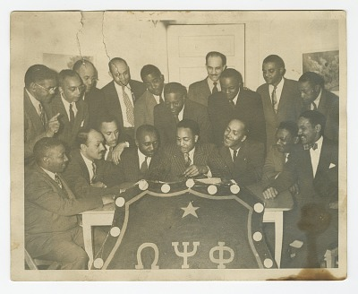 Photograph of the Tau Omega Chapter of Omega Psi Phi Fraternity