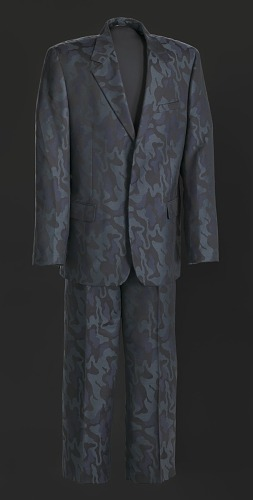 Image for Black, navy, and teal suit worn by Luther Vandross