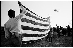 Marchers Settling at Camp with National guard Helicopter Overhead, Selma to Montgomery March