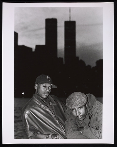 Image for Photograph of Mista Lawnge and Dres of Black Sheep in front of WTC towers