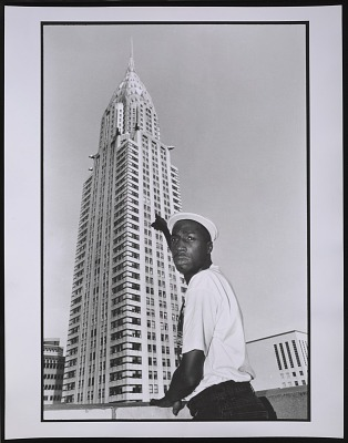 Photograph of Grandmaster Flash at the Chrysler Building, NYC