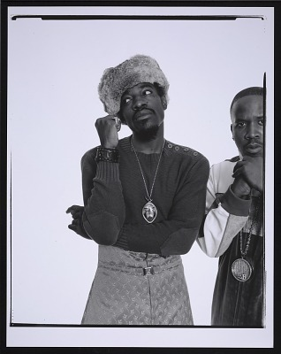 Photograph of Andre 3000 and Big Boi of Outkast at a Spin magazine photo shoot