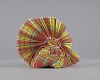 Thumbnail for Red, yellow, blue, and white Madras headdress