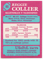 Football trading card for Reggie Collier depicting Joe Gilliam