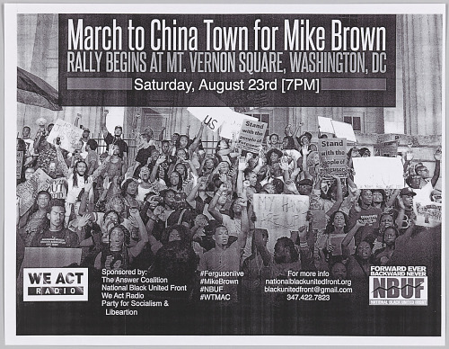 Image for Fliers for a march in memory of Mike Brown in Washington, DC