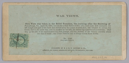 Image for Stereograph of a deceased Confederate soldier in a trench