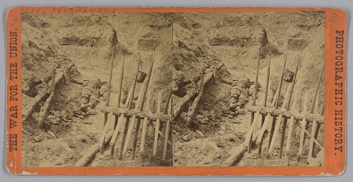 Image for Stereograph of two deceased Confederate soldiers in a trench