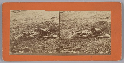Stereograph of a deceased soldier on the battlefield after Gettysburg