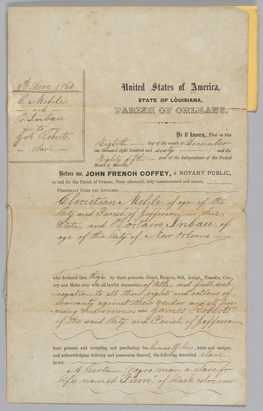 Image 1 for Deed of sale for an enslaved man named Pierre