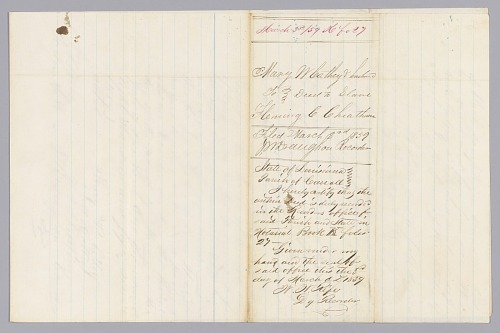 Image for Deed of sale for an enslaved woman named Cassey