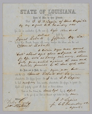 Deed of sale for an enslaved man named Cato