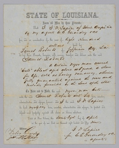 Image for Deed of sale for an enslaved man named Cato