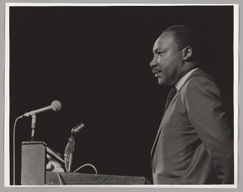 Image for Martin Luther King, Jr. at podium, fundraiser at Boston Garden