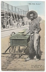 Postcard of a fish dealer