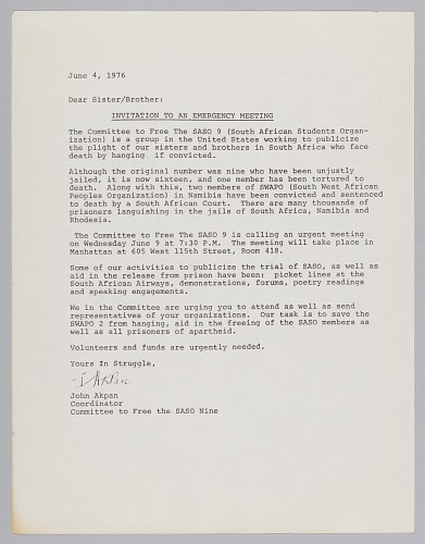 Image for Letter of invitation from the Committee to Free the SASO 9