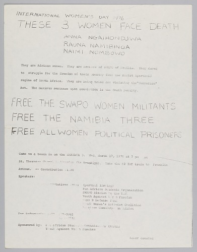 Image for Flyer about the Nambia Three and International Women's Day 1976