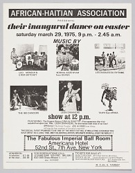 Flyer advertising the inaugural dance of the African-Haitian Association