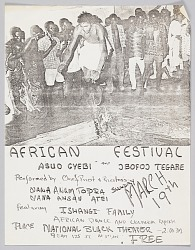Flyer advertising an African Festival featuring Asuo Gyebi and Jbofoj Tegare
