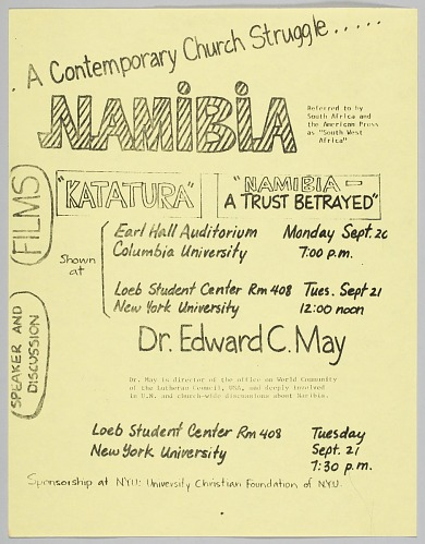 Image for Flyer advertising film viewings for Katatura and Namibia- A Trust Betrayed