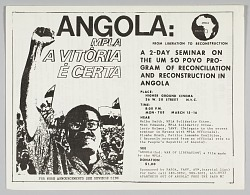Flyer advertising an event entitled Angola: From Liberation to Reconstruction