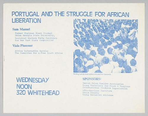 Image for Flyer advertising an event about Portugal and African liberation