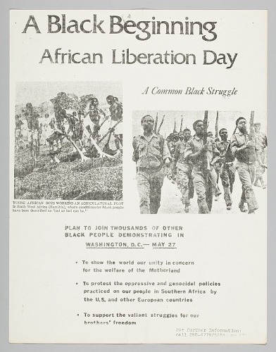 Image for Flyer announcing a demonstration on African Liberation Day